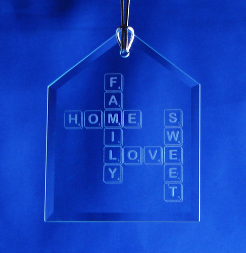 Etched Scrabble House Ornament
