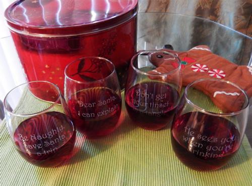 Christmas Wisdom Stemless Wine Glass Set