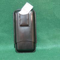 "7"" BLACK LEATHER CIGAR CASE W/CUTTER"