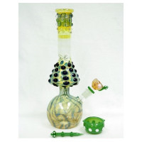 "14"" SMOKING GLASS DESIGNER WATER PIPE WITH DISH AND DABBER 595GM"