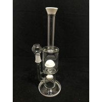 """WATER PIPE WITH DOUBLE PERK WHITE 12"""" PK80 #38620"""