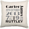 Personalised Baby Child Cushion Cover (Birth Details)