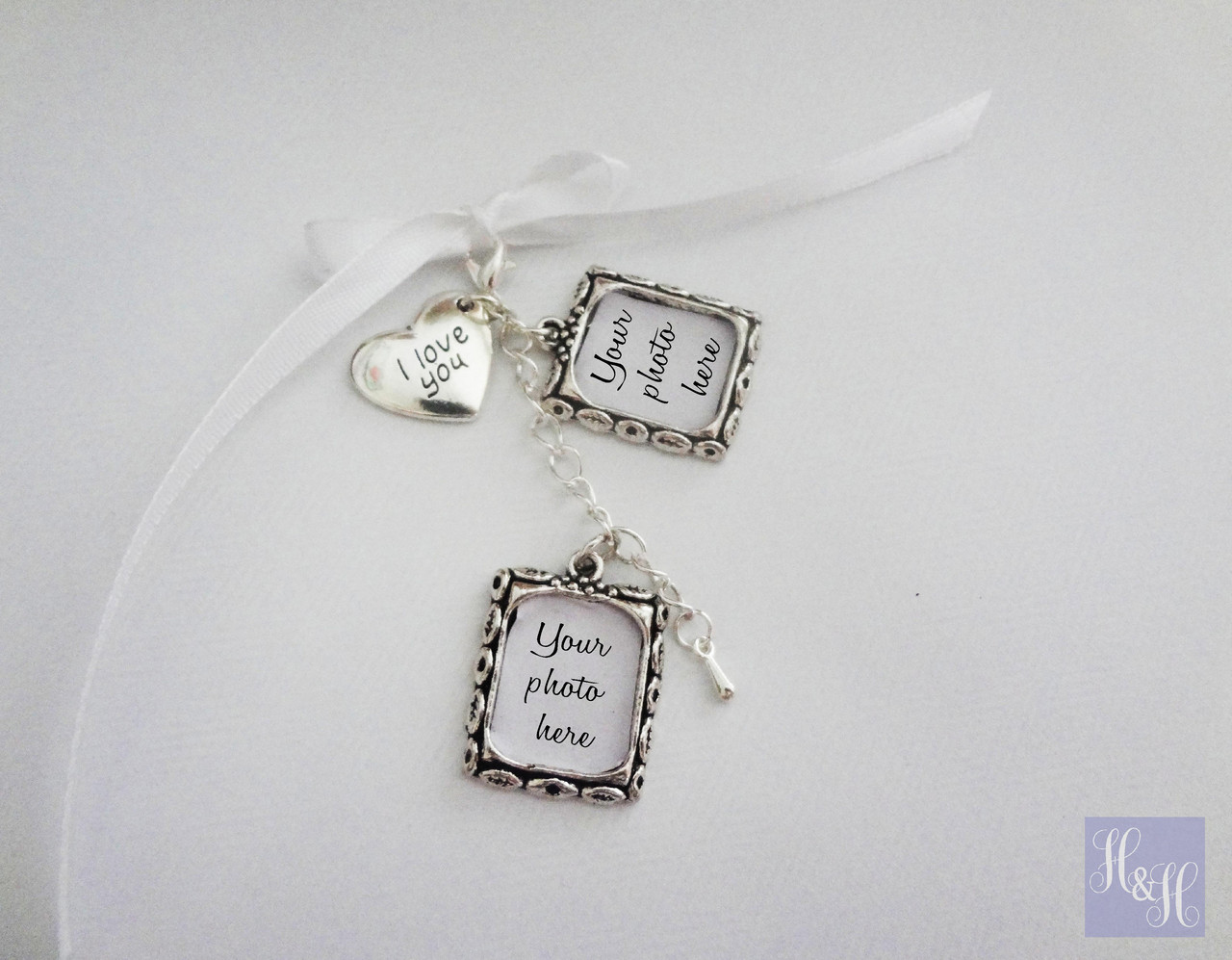 Double DIY Wedding Bouquet Photo Memory Charms W I Love You Charm