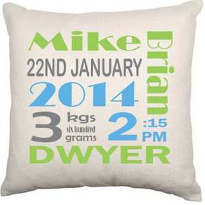 Personalised Baby Cushion Cover (Birth Details)