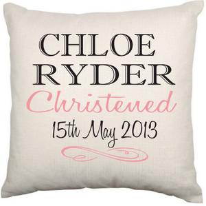 Personalised Christening Cushion Cover (Elegant)