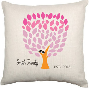 Personalised Cushion Cover (Family Tree Leaves)