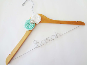 Personalised Adult Hanger with 2 Satin Roses & Rhinestone