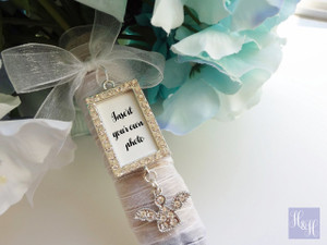 Bouquet Charm - DIY Rhinestones Blank (Silver) with Angel- Janice Design