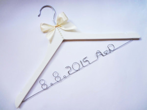 Personalised Adult hanger with Pearl Detail with Ivory bow