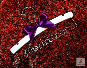 Personalised Baby Hanger with Purple bow
