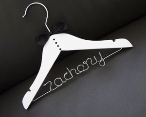 Personalised Child Tuxedo Hanger with Black bow