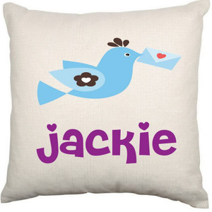 Personalised Baby Cushion Cover (Bird)