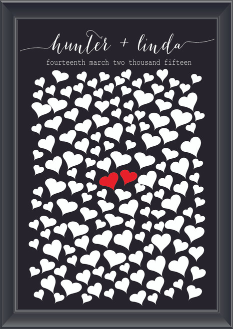 Personalised Middle Hearts Guestbook (Modern)