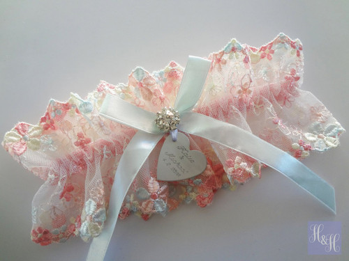 Personalised Embroidered Garter - Charissa design