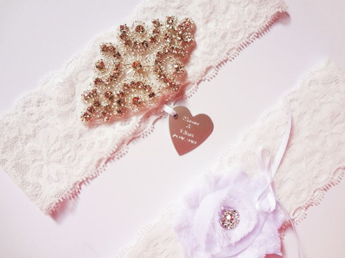Personalised White Stretch Lace Rhinestone Applique Garter Set