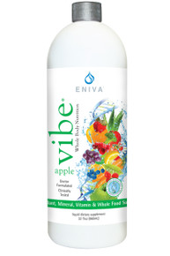 Eniva VIBE Apple, daily multi, 32 oz, antioxidants, minerals, vitamins, whole food liquid supplements, Full Spectrum nutrition, DNA support, bio-ready liquid design, specialized phytonutrient ingredients for healthy living, antioxidant strength, cellular defense formula, four specialized nutritional blends in one easy-to use formula, doctor formulated, clinically tested, SoluMAX immune health, AntiOX2 healthy aging, HeartPRO cardiovascular health, CollaMAX cellular health, whole body nutrition, enhanced absorption, pharmaceutical and food-grade natural nutrients,* Product ID # 17013