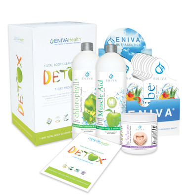 "Eniva Detox Kit with VIBE Fruit Sensation 20-1oz Packets, 7-Day Detox & Cleanse Program, VIBE Fruit Sensation, total body detox, counteracts free radical damage, supports cellular DNA, Bio-Chlor, cleanse entire body, liver, gallbladder, colon, blood, ""deodorize"" the body, Muscle Aid, supports aluminum removal from the soft tissue, energy production, LifeCleanse, colon, digestive tract and liver detoxifier, internal conditioner, healthy intestinal bacteria, product use and instruction sheet, Product ID # 32024"