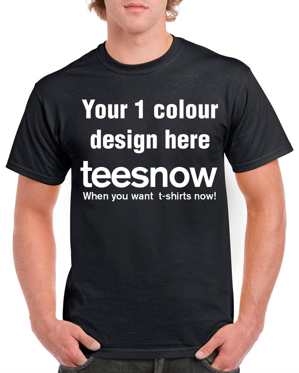 Black t shirt printing - Black T Shirt With 1 Colour Custom Printing On Front