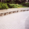 Concrete and Wood Backless Park Bench