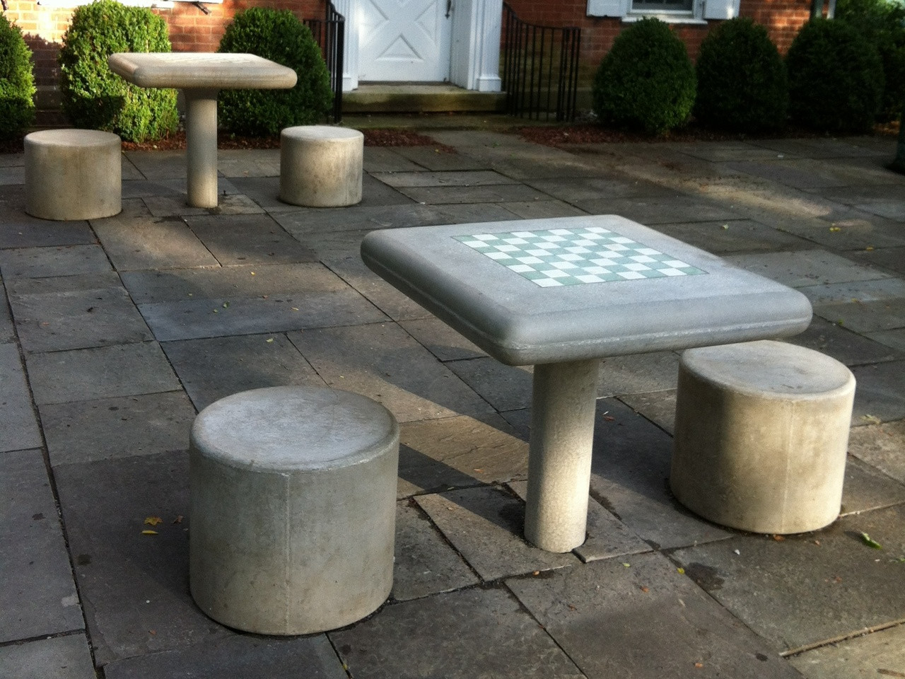 Concrete Fixed Chess Table and Stool Set Kenneth Lynch and Sons