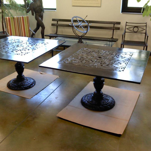 "Filigree Design 46"" Square Dinning Table with Pedestal Leg"