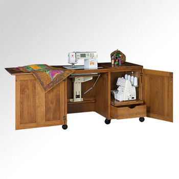 Schrocks of Walnut Creek Sewing Machine/Serger Duo Cabinet in Real Oak Wood and Birch Stain Open