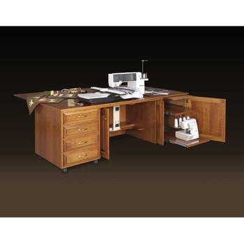 Schrocks of Walnut Creek Custom Embroidery Cabinet with Drop Leaf (trio) in Real Oak Wood