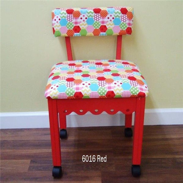 Arrow 6016 Chair In Red Finish And Hexi Print Fabric
