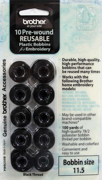 Brother PWB250B Pre-Wound Embroidery Bobbins (10 Pack)
