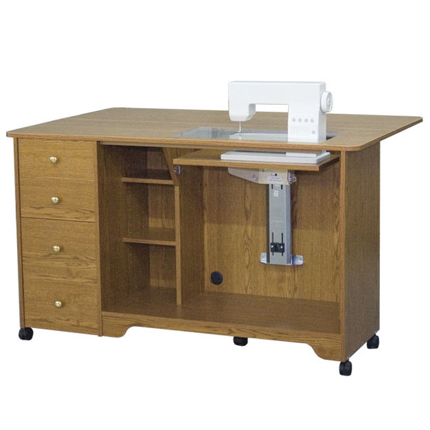 horn of america electric lift sewing cabinet cutting table in sunset oak only