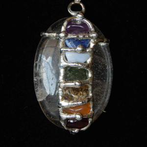 (SOLCHW) Chakra Worry Stone Necklace (quartz)