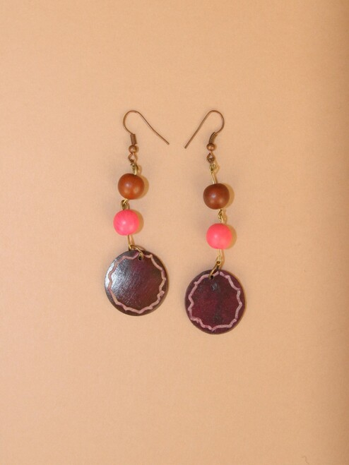 Carved Coconut Circle Dangle Earrings