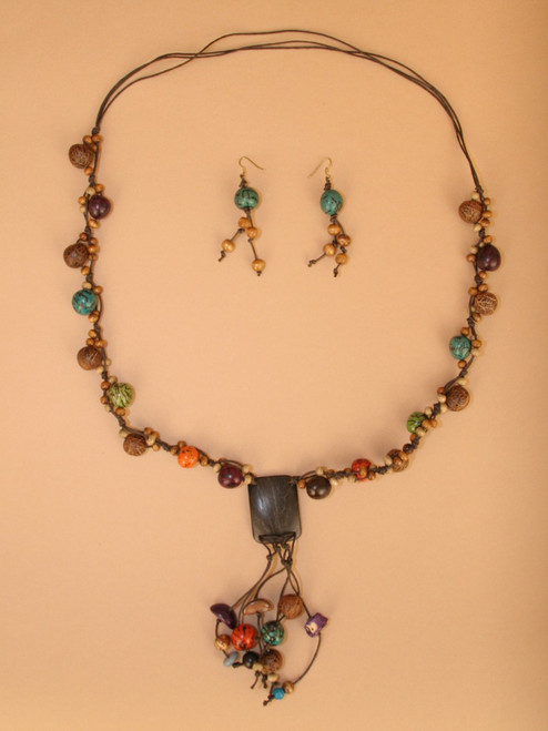 Coconut & Seeds Earring and Necklace Set