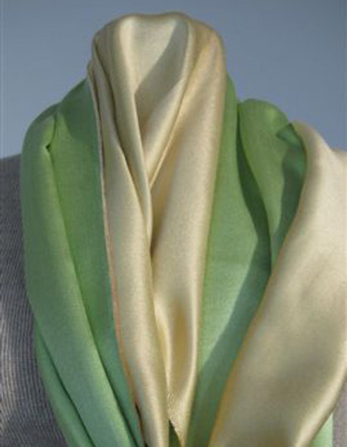 Lime and Gold Silk Stole