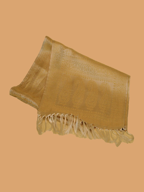 Light Cream Silk Brocade Scarf