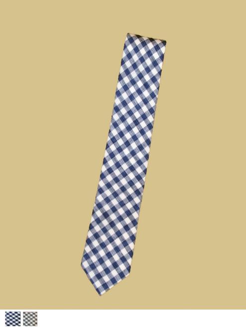 Narrow Linen Tie Check - Organic Cotton