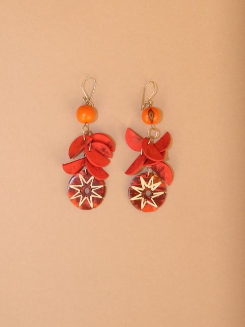 Orange Circular Pendant Earrings