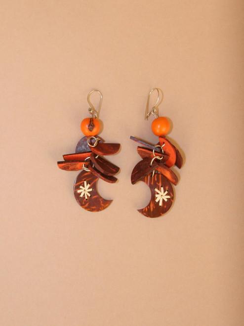 Orange Crescent Moon Earrings