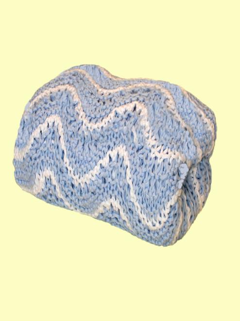 Hand Made Cotton Blue Wave Blanket - Fair Trade