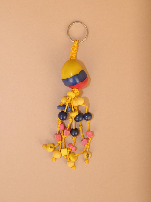 Red, Blue & Yellow Striped Tagua Seed Keychain
