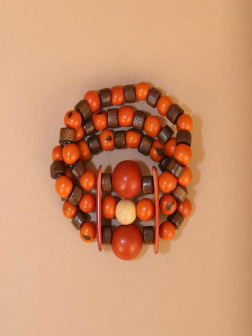 Orange and Brown Tagua & Wood Beads Bracelet