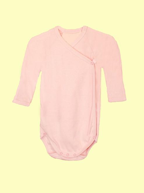 Baby Pink Long Sleeve Onesie . Organic Cotton - Fair Trade
