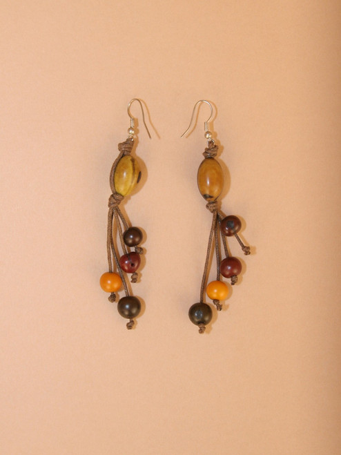 Earth Tagua Seed Dangle Earrings