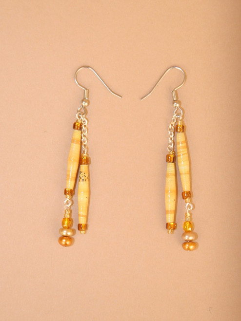 Earth Double Strand Earrings  - Eco Beads