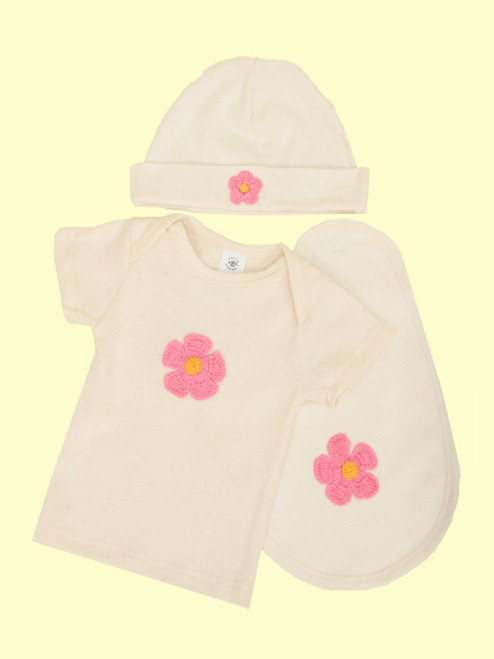 3 Piece Flower Layette Set . Hemp & Organic Cotton - Fair Trade