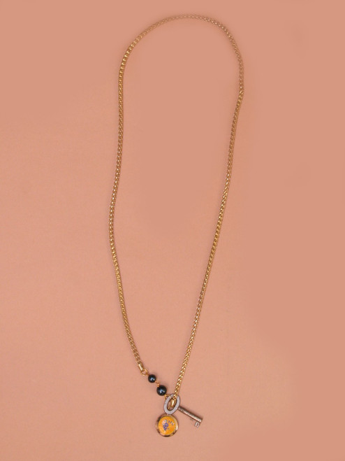 Lariat With Key And Locket Necklace -Vintage Recycled Metal
