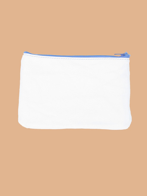 White/Bright Blue Change Purse - Recycled Leather