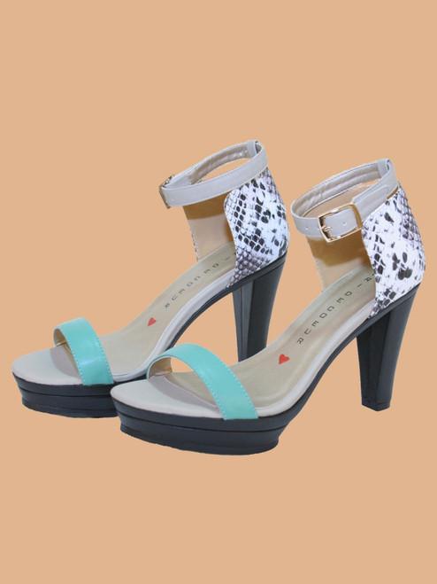 Dove Ankle Strap Platform Sandals - Vegan Leather
