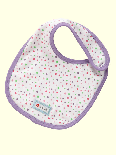 Spotty Rainbow Pink Classic Bib . Organic Cotton - Fair Trade