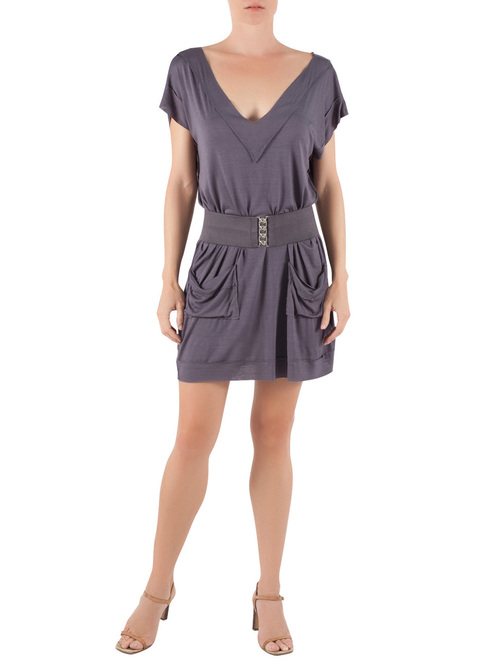 Deep-V Modal Mini Dress in Charcoal